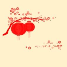 喜庆灯笼花朵笔刷