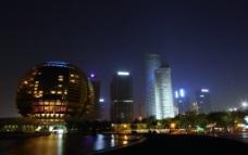 夜景 杭州 钱江新城图片