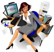 办公室女性矢量素材图片