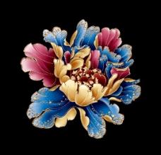 中国风 古典 牡丹 金属质感