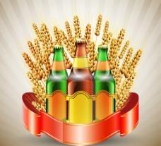 麦穗啤酒矢量素材图片
