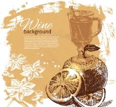 手绘风格葡萄酒矢量图片