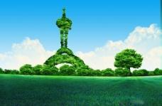 绿色城市建筑PSD素材下载