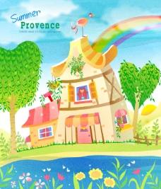 童话小屋墙画矢量素材
