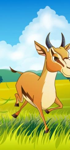 可爱动物绿色跳斑羚羊图片