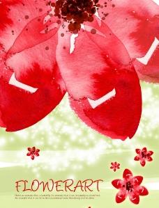 水彩红花图片