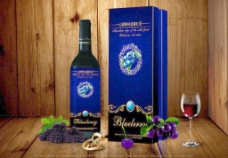 蓝莓红酒图片