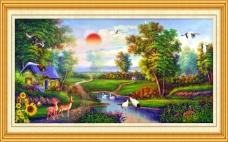 油画休闲场所装饰风景素材下载