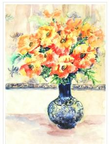 原创水彩画瓶中花卉图片