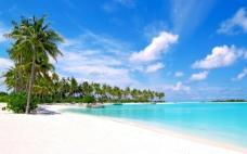 蓝色海滨高清风景电脑桌面 清新
