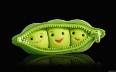 可爱的豌豆微笑