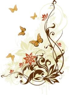 蝴蝶 曲线背景图片
