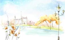 手绘秋日湖滨城堡
