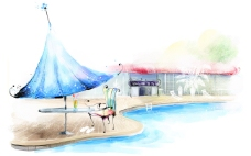 手绘 泳池