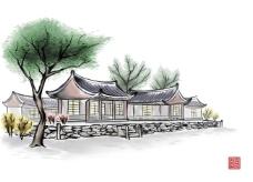 背景水墨绘画房屋