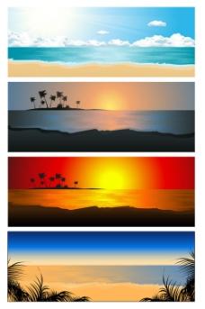 落日海岸风景