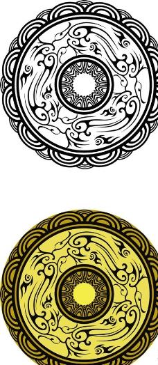 硬币环形花纹素材