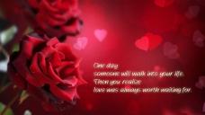 大红背景上的红玫瑰和文字