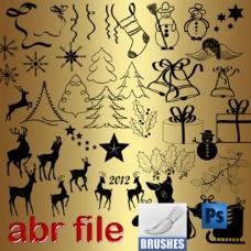 圣诞节设计元素笔刷下载
