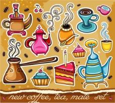可爱彩色手绘风甜点咖啡