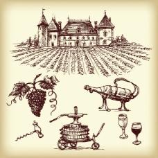 手绘葡萄酒系列