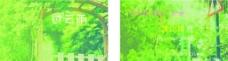 绿色意境简单名片图片
