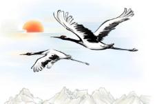 水墨画仙鹤图片
