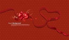 心形彩带蝴蝶结背景素材图片