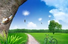 外景绿色草地背景大图JPG
