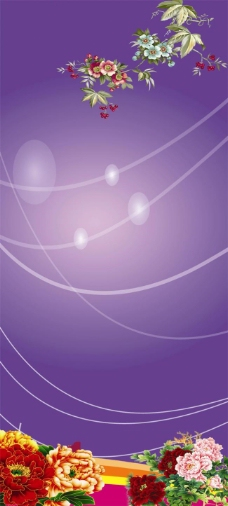 鲜花紫色背景psd素材