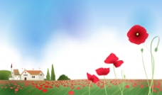 红花插画图片
