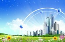 彩色圆球外景背景大图