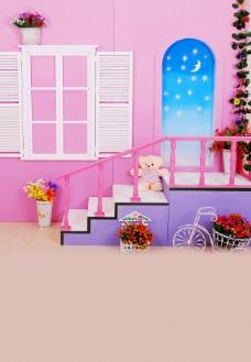 卡通粉色家园儿童背景大图