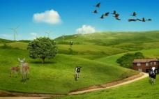 草原生活风景背景大图JPG