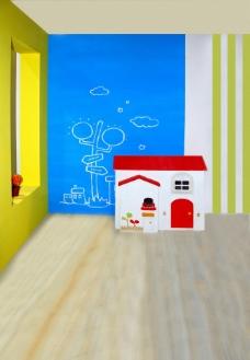 幻想卡通小屋儿童背景大图