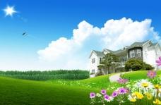 花香田园风景背景图