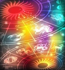炫彩星座轮盘背景矢量图