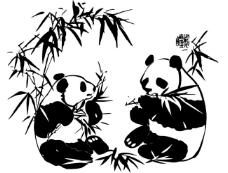 大熊猫 中国风 水墨