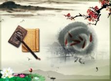 中国风展板挂画梅花荷花金鱼