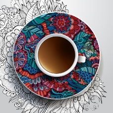 花纹碟子与咖啡