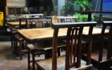 复古餐饮餐桌图片