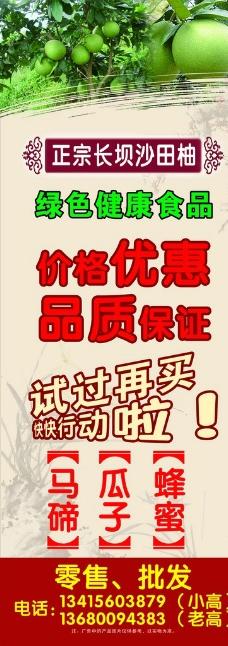 长坝沙田柚X展架图片