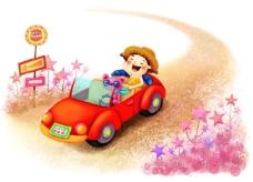开车游玩的孩子