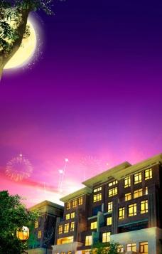 别墅园林夜景中秋图片