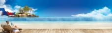 風景沙灘美女圖片